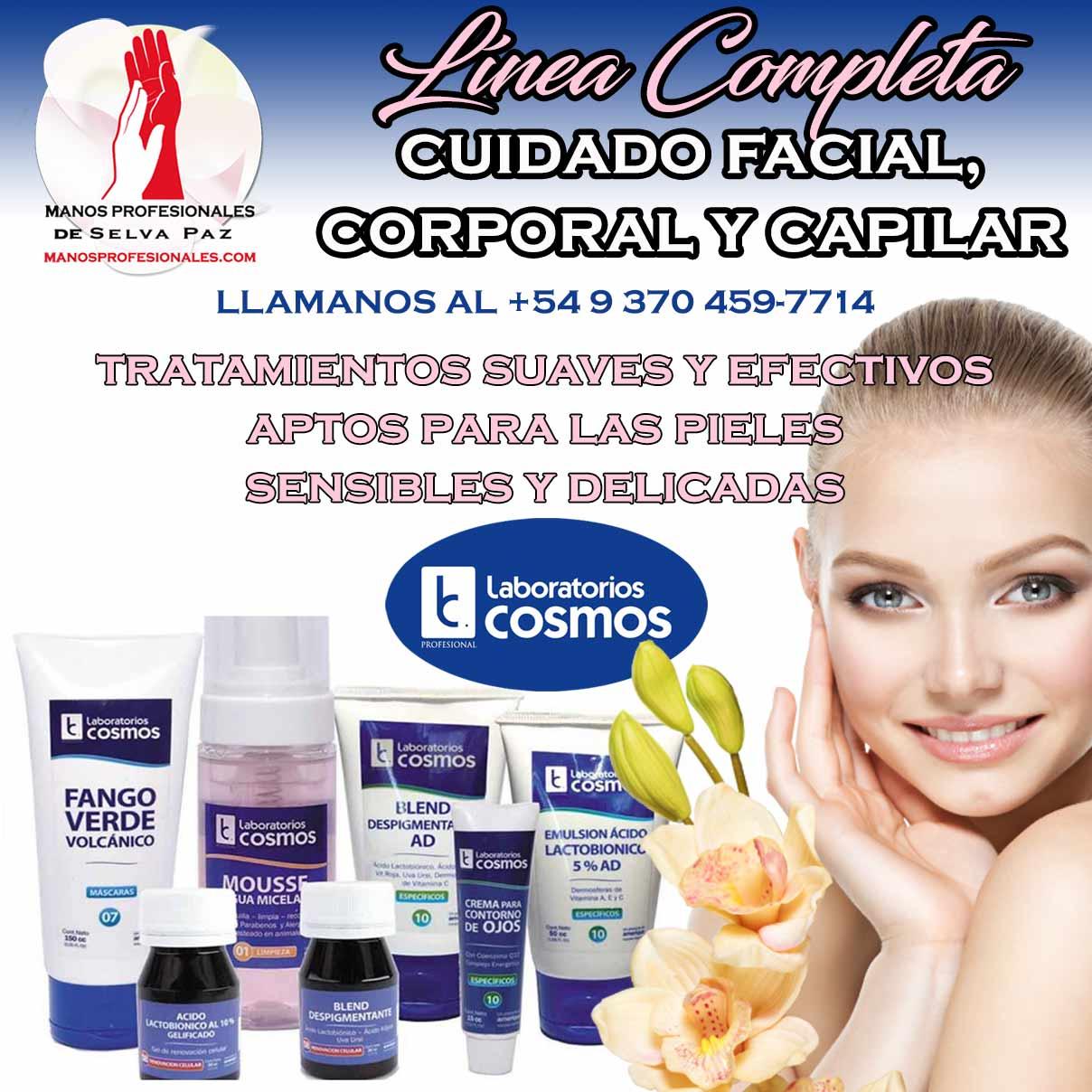 LABORATORIOS COSMOS LINEA COMPLETA, para el cuidado facial, corporal, capilar, para tratamientos suaves y efectivos aptos para las pieles sensibles y delicadas